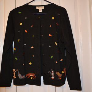 Ladies cardigan with cats and dogs size M